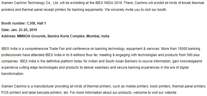 Cashino te invita a Ibex India 2019.